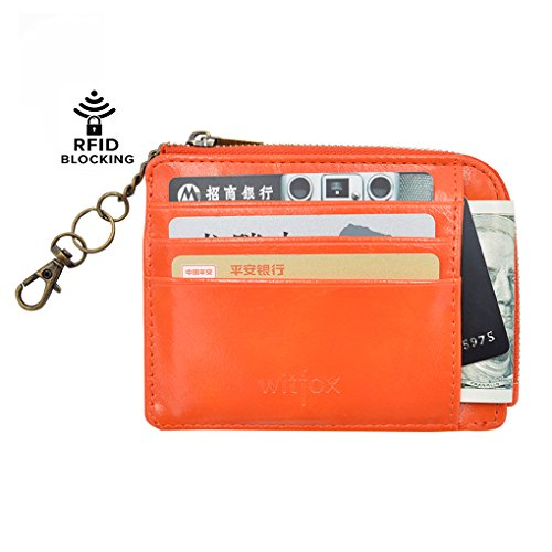 Girl Card Holder (Womens RFID Leather Zipper Small Card Case Slim Wallet With Key Chain ID Window (Orange))