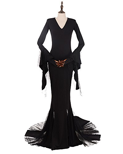 Miccostumes Women's Morticia Addams Cosplay Costume (Addams Family It Costume)