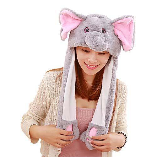 Woneart Funny Bunny Hat With Moving Ears Plush Animal Ear Hat Rabbit Ears Fancy Dress Headband Toys Cosplay Costume Blue Eyes Rabbit