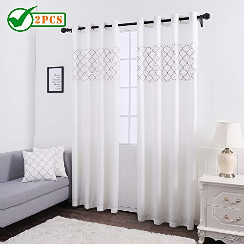 Twin Six Splicing Embroidered Curtains Geometric Lattice Design Faux Linen with 8 Grommet Curtains for Bedroom, Kids or Living Room, 2 Panels, 52 x 84 Inch, Ivory White/Silver Embroidery