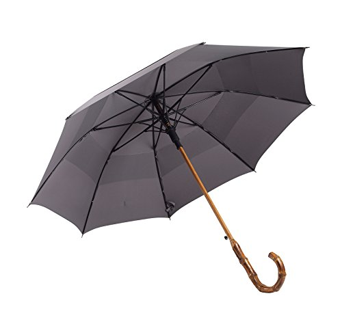 UK Designed—Balios Prestige Walking Stick Umbrella—Bamboo Handle—Double Canopy (Metallic (Special Metallic Brass Handle)