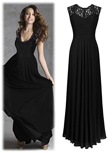 V Tkiames De Largo Sin Gasa Elegante Vestido Para Mangas Negro cuello Encaje Mujer HHFn4Yx