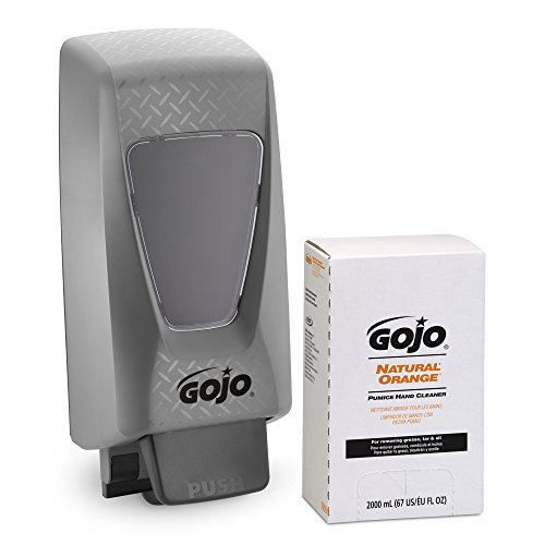 (GOJO NATURAL ORANGE Pumice Scrubber Hand Cleaner PRO TDX 2000 Starter Kit, 1 - 2000 mL Hand Cleaner Refill + 1 - PRO TDX 2000 Dispenser - 7255-D2 )