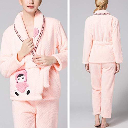 Batas Mode Cinturón Marca Elegante Mujer Espesor Conjunto Dormir Pijama Invierno Bolsillos Manga De Ropa Pantalones Caliente Larga Noche Fashion Light Con Otoño Cartoon Patrón Pink x7wqrU0H7O