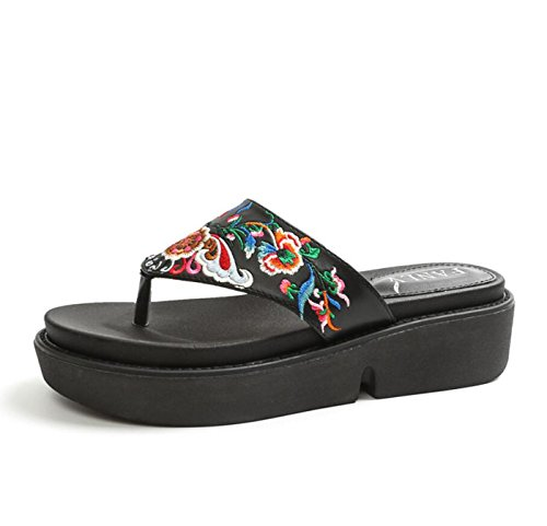 DANDANJIE Chanclas de Las Mujeres de Moda de Verano al Aire Libre de la Manera étnica Estilo Bordado Sandalias de tacón de cuña Zapatos Zapatos caseros Negro