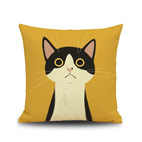 YOUR SMILE Yellow Cat Square Cotton Linen Decorative Throw Pillow Case Cushion Cover Pillowcase for Sofa 18 x 18 Inch
