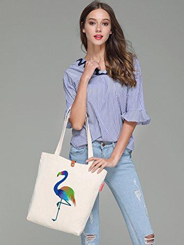 So'each Women's Cute Flamingo Graphic Top Handle Canvas Tote Shoulder Bag