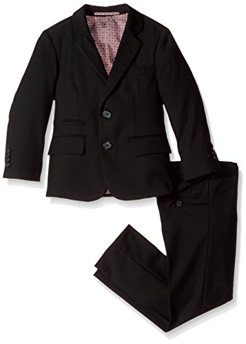 Isaac Mizrahi Boys' Big' Textured 2pc Slim Fit Solid Suit, Black, 12]()