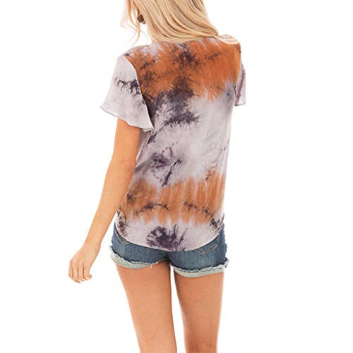 Smdoxi Summer Fashion Women's Loose Casual tie Dyed Solid Color Classic Print V-Neck Sleeveless Short-Sleeved Sexy New Shirt Orange]()