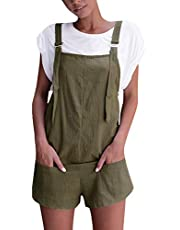 Celmia Women's Overalls Shorts Sleeveless Casual Jumpsuit Rompers with Pockets
