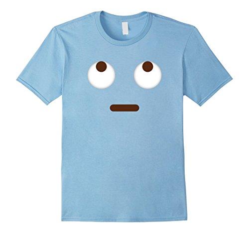 Mens Emoji T-Shirt Eyes Looking Up Halloween Emoji Costume Large Baby Blue
