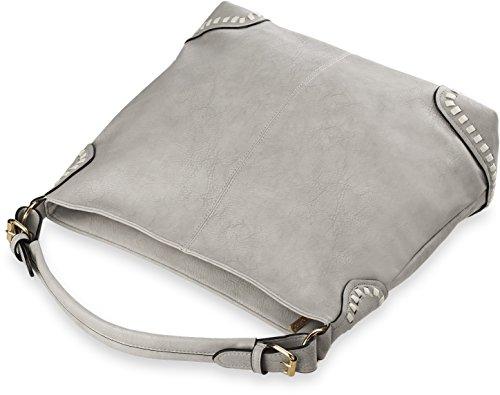 stilvolle Damentasche Shopperbag Beuteltasche mit Flechtung grau