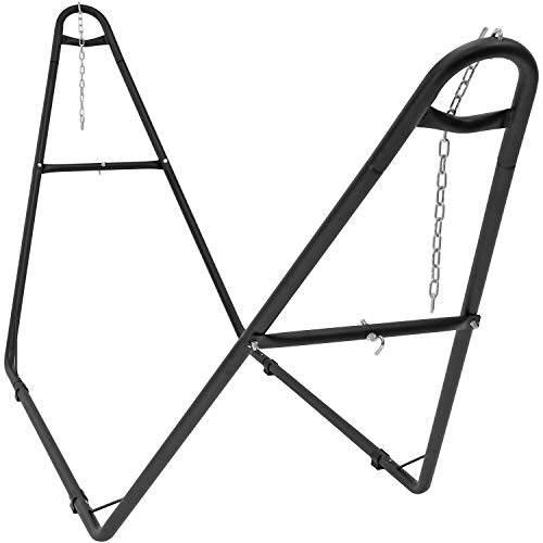 Black 18 Gauge Steel Post - Sunnydaze 550-Pound Capacity Universal Multi-Use Heavy-Duty Steel Hammock Stand, 2 Person, Fits Hammocks 9 to 14 Feet Long, Black