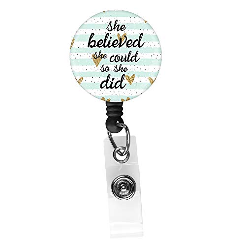 Inspirational Quote she Believed she Could so she did Retractable ID Card Badge Holder with Alligator Clip, Name Nurse Decorative Badge Reel Clip on Card Holders (Badge Holder Quote)