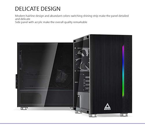 Montech Flyer- Black/Micro ATX, Mini-ITX/Pre-Installed 2 Fans/High-Airflow/Computer Gaming Case/Hairline Surface Front Panel/RGB LED Shinning Strip/Three Versions Lighting Effects