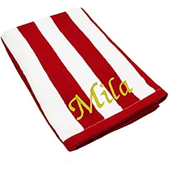 Personalized Striped Beach Towel - Monogrammed Pool Towels Gift - Custom Embroidered for Free (Red)