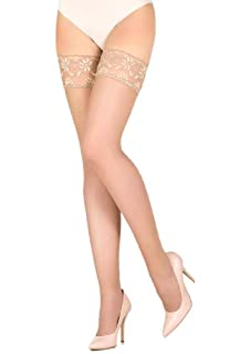 449a971dc Amazon.com  Amoretu Silky Sheer Thigh High Stockings with Lace Top ...