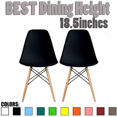 2xhome Set of Two 2 – Plastic Side Chair Natural Wood Legs Eiffel Dining Room Chair – Lounge Chair No Arm Arms Armless Less Chairs Seats Wood Leg Dowel Legs Black