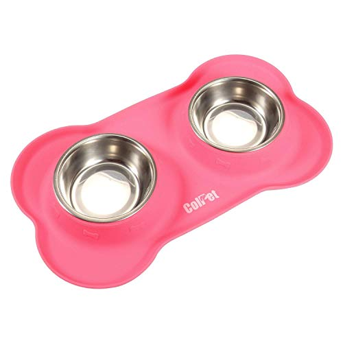 ColPet Pet Dog Bowls Set - Double Stainless Steel Elevated Bowls on BPA-Free Silicone Feeding Mat, Small, Pink