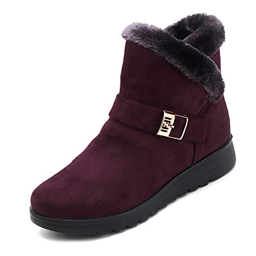 Women's Plus Velvet High-top Warm Flat Snow Boots Winter Ankle Boots By Sunsee Christmas Promotion15% Discount8 B(M) US, Wine)