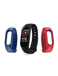 Redlemon Fitband Sport Bluetooth con Monitor de Ritmo Cardiaco, Oxigenación en Sangre, Presión Arterial, Podómetro, Notificaciones de Mensajería, Redes Sociales y Llamadas, Monitor de Sueño, Contador de Calorías, Distancia Recorrida, Compatible con iOS y Android. Negro, Azul y Rojo