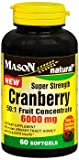Mason Natural Cranberry 6000 mg Super Strength - 60 Softgels, Pack of 6
