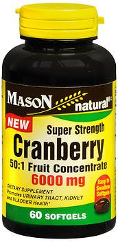 Mason Natural Cranberry 6000 mg Super Strength - 60 Softgels, Pack of 6 by Mason Natural