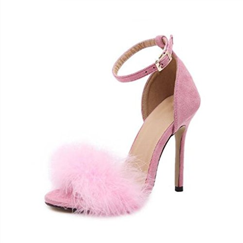 Dovaly Women Sandals Fashion Real Fur Feet Buckle 10cm Heel Wedding Party Plush High Heels