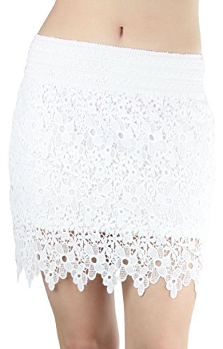 ToBeInStyle Women's Lace Floral Skirt - WHITE - Large
