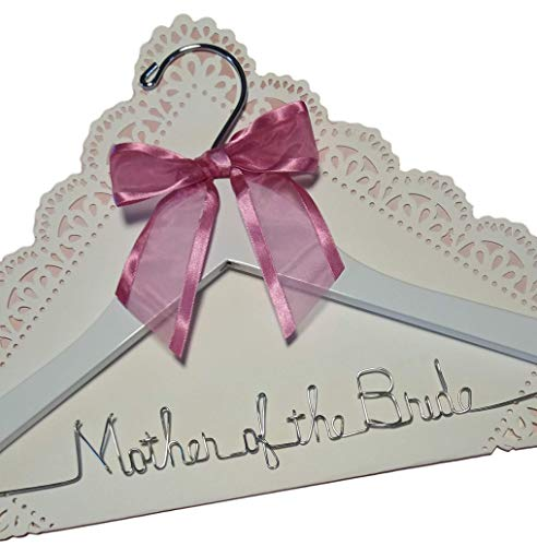 Mother of the Bride - Mother of the Groom Wedding Dress Hanger Silver Quality Dark Wood or White Wood Hanger with Notches - Your Choice of 12 Bow Colors, Mother Gift