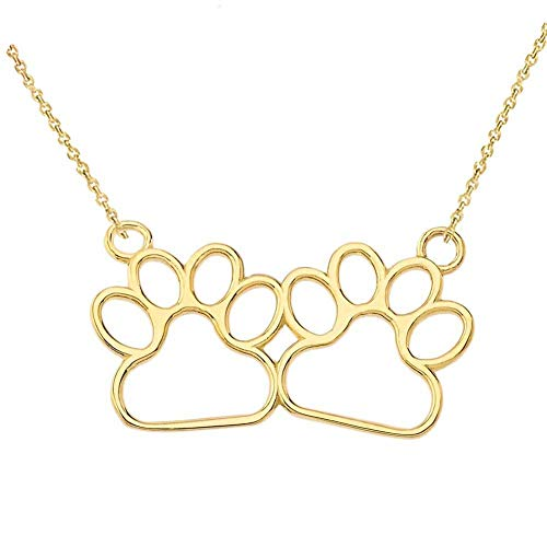 - Dainty 14k Yellow Gold Double Dog Paw Prints Cut-out Necklace, 16