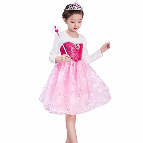 Girls Princess Dress Up Anna Elsa Costume Sequined For Halloween Party ()