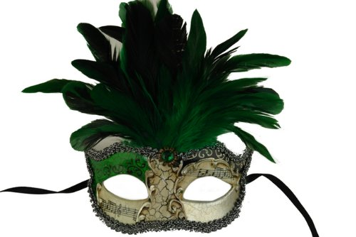 Laser Cut Venetian Halloween Masquerade Mask Costume Extravagant and Elegant Finely Detailed Feather Headdress - Green