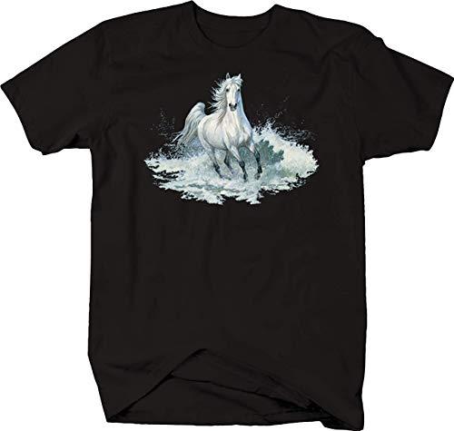 Water Stallion T-shirt - The Big Dipper White Stallion Horse Galloping Through Water Foal Colt Tshirt S