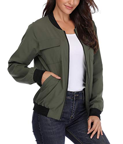 MISS MOLY Womens with Lining Zip up Lightweight Coat Rib Collar Multi-Pockets Bomber Jacket (With Lining)army Green Large(US-14)