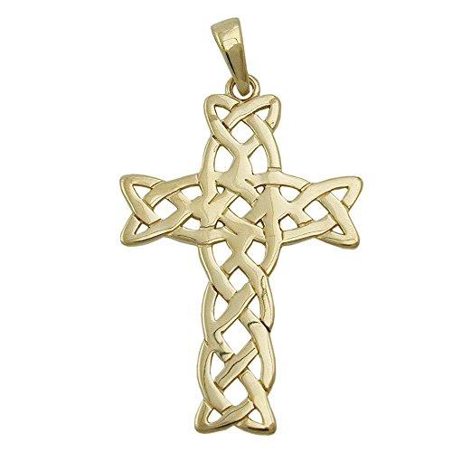 Pendentif, croix, brillant, or 9carats