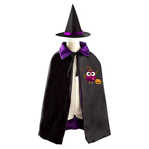 69PF-1 Halloween Cape Matching Witch Hat Funny Owl Hat Wizard Cloak Masquerade Cosplay Custume Robe Kids/Boy/Girl Gift -