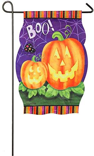 Evergreen Suede Imperial Pumpkins Garden Flag  12 5 X 18 Inches