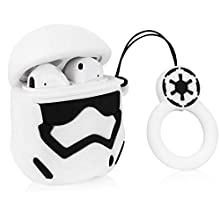 Joyleop White Man Chain Case Compatible with Airpods 1/2, Cute Cartoon Fun Funny 3D Kids Girls Teens Cover, Cool Stylish Fashion Soft Silicone Character Shockproof Airpod Skin Cases for Air pods 1&2