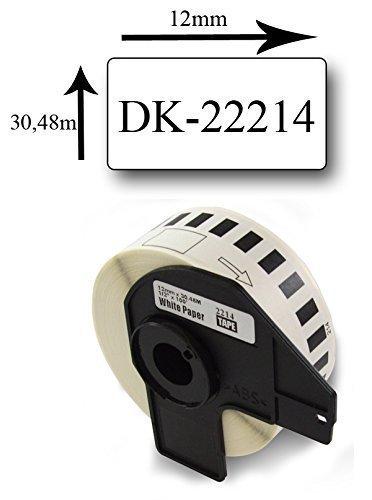 Bubprint Cinta de Etiquetas Compatible para Brother DK-22214 para impresora P-Touch QL1050N QL1060NX QL1100NWB QL1110 QL500BS 12mm x 30,48m Continua