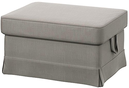 Easy Fit The Light Gray Ektorp Footstool Cover Replacement is Custom Made for IKEA Ektorp Ottoman Or Stool Slipcover (Lighter Gray Cotton) (Covers Ottoman Ikea)