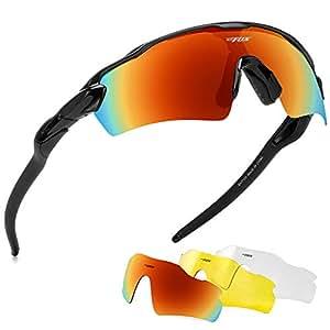 BATFOX Polarized Sports Sunglasses, Hd Lens,Built-In Comfortable Silicon Leg For Men Women Baseball Running Cycling Fishing Driving Golf Softball Hiking (Black)