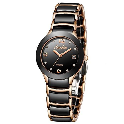 SUNKTA Women's Fashion Elegant Waterproof Analog Quartz Watch Stainless Steel with Diamond Black and Rose Gold Ceramic Bracelet Ladies Wristwatch