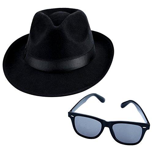les plus récents beau beaucoup de styles Aneco Déguisement Gangster Ensemble Chapeau Mou Lunettes de ...