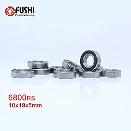 6800-2RS 10x19x5 mm Chrome Rubber Ball Bearing Bearings BLACK 6800RS 10 PCS