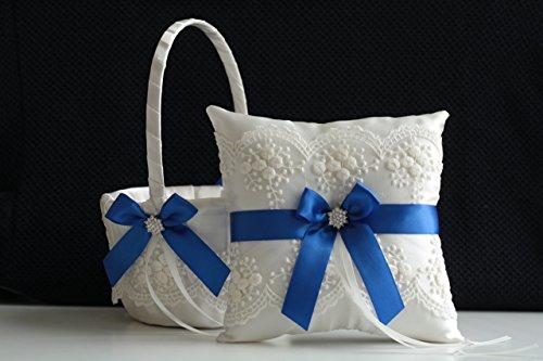 Ivory Royal Blue Flower Girl Basket & Jewel Ring Bearer Pillow \ Ivory Royal Blue Wedding Basket Pillow Set \ Brooch Bearer + Wedding Sash Belt \ Brooch Basket