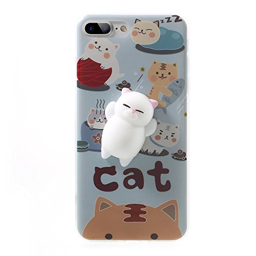 Kneading Squishy Cat iPhone 7 Plus Case, XYIYI Finger Pinch 3D Cute Soft Silicone Poke Squishy Cat Phone Back Protective Cover for Apple iPhone 7 Plus (Pattern A)
