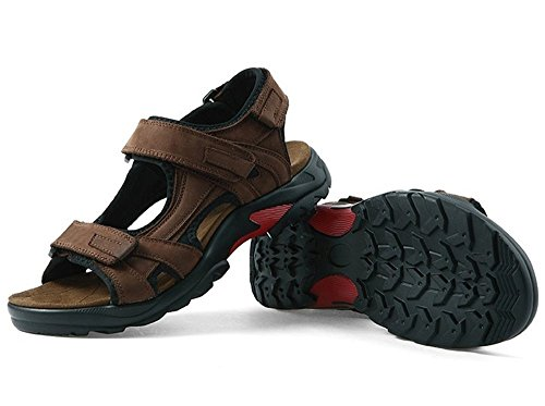 BININBOX Mens Leather Athletic Sport Sandals Summer Outdoor Flats Shoes Brown fN5WVQs8A