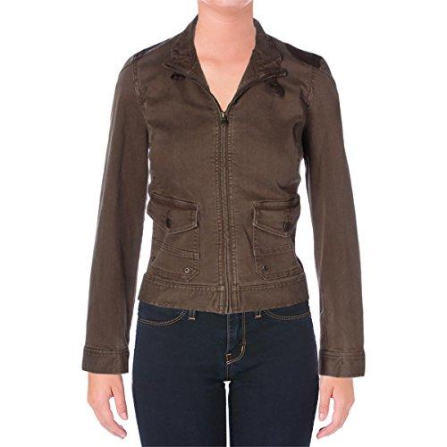 Lauren Ralph Lauren Womens Denim Leather Trim Moto Coat Brown 10 (Ralph Lauren Leather Jeans)