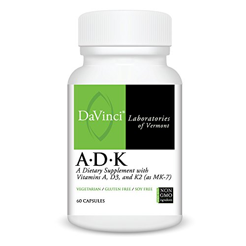Labs Da Vinci - Davinci Laboratories - A.D.K, Vitamins A, D and K Support Bone Health and Calcium Absorption, 60 Capsules, Non-GMO Ingredients